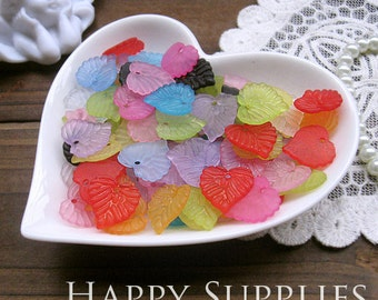 Last - Big Sale -200Pcs Colorful Lovely Little Plastic Leaves Charms (24643)--Clearance Sale