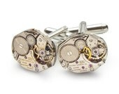 Steampunk Cufflinks Steampunk Jewelry vintage Gruen watch movements gears wedding anniversary Grooms Gift silver cuff links mens jewelry