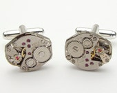 Steampunk cufflinks vintage watch movements gears wedding anniversary groom gift silver Industrial men jewelry by Steampunk Nation 1776