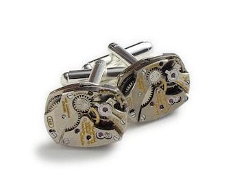 Steampunk Cufflinks Vintage Rare Gruen Curvex Watch Movements Wedding Anniversary Grooms Gift Silver Cuff Links Mens Steampunk Jewelry 2897
