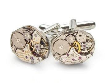 Steampunk Cufflinks Steampunk Jewelry vintage Gruen watch movements gears wedding anniversary Grooms Gift silver cuff links men jewelry 1996