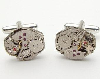 Steampunk cufflinks vintage watch movements gears wedding anniversary Grooms Gift silver cuff links men jewelry by Steampunk Nation