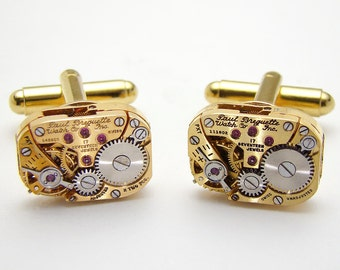 Steampunk Jewelry Vintage Gold Cuff Links Paul Breguette Watch Movements ideal Wedding Anniversary, Grooms Gift Mens Formal Cufflinks