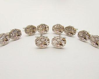 Steampunk Cufflinks in Silver Set of 5 Matching Pairs, Vintage Bulova Watch Cuff Links, Groomsman Gifts Wedding Formal Wear, Mens Jewelry
