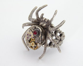 Steampunk Spider Ring Vintage Watch Movement with Gears and Red Garnet Crystal on Adjustable Silver Filigree Band Industrial Jewelry Gift