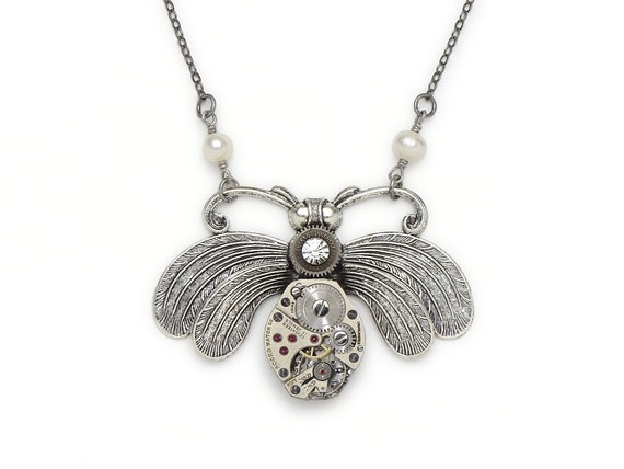 Steampunk Necklace vintage watch movement gears silver bumble bee pearls Swarovski crystal pendant Steampunk jewelry Steampunk Nation