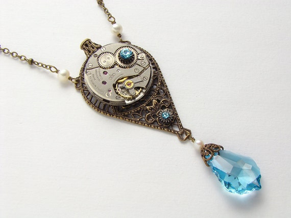 Steampunk Necklace Steampunk Jewelry vintage silver watch movement blue aquamarine crystal pearl Victorian flower gold filigree pendant 1930