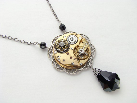 Steampunk Necklace antique gold pocket watch gears black crystal silver filigree flower Victorian pendant jewelry by Steampunk Nation 1419