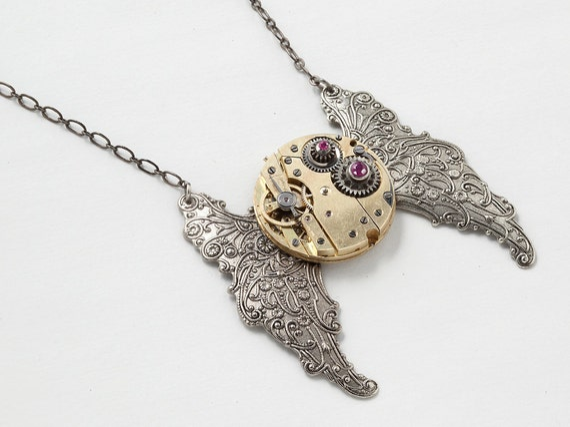Steampunk Necklace Vintage gold pocket watch movement gears genuine ruby silver butterfly wings flower leaf pendant Steampunk Jewelry 2020
