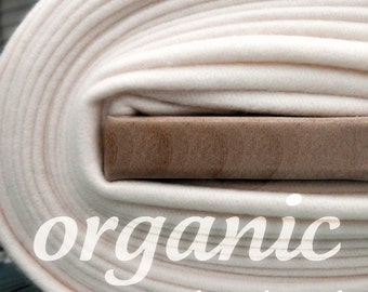Organic Cotton Fleece- Yard Yardage - Domestically Made GOTS Certified - Wide Cream Ivory Eggshell