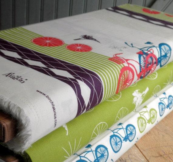 Organic Bike Cruisers - Half Yard -  Avalon by Jay-Cyn for Birch Fabrics - Cherry Lime Blue Grey