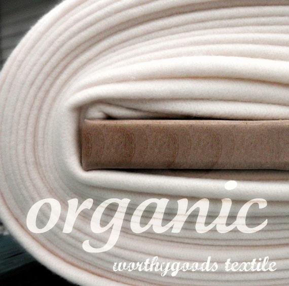 Organic Cotton Fleece- Yard Yardage - Domestically Made GOTS Certified - Wide Cream Ivory Eggshell