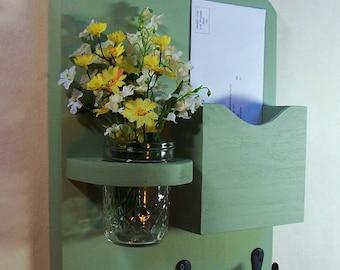 Mail Organizer - Mail and Key Holder - Letter Holder - Key Hooks- Jar Vase - Mail Organizer