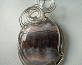 Gray and Pink Crazy Lace Agate Pendant in Sterling Silver