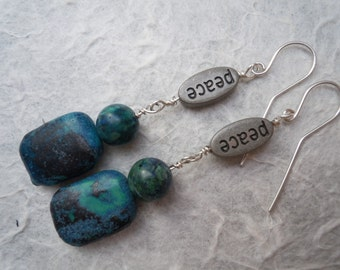 Peace on Earth Azurite and Sterling Silver Drop Earrings