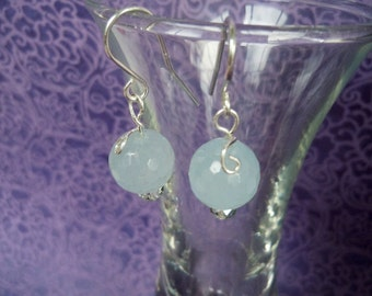 Swirled Aquamarine and Crystal Ear Bob