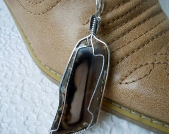 Jagged Truth Agate Slab Wrapped In Sterling Silver