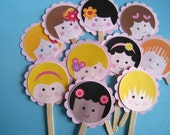 Baby Face Set of 12 Kawaii Cupcake Toppers