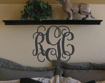 Vine Monogram decal, Girl monogram sticker, Monogram wall letters, Custom 3 letter initials, Teen bedroom, Girl room, Vinyl lettering LL0931