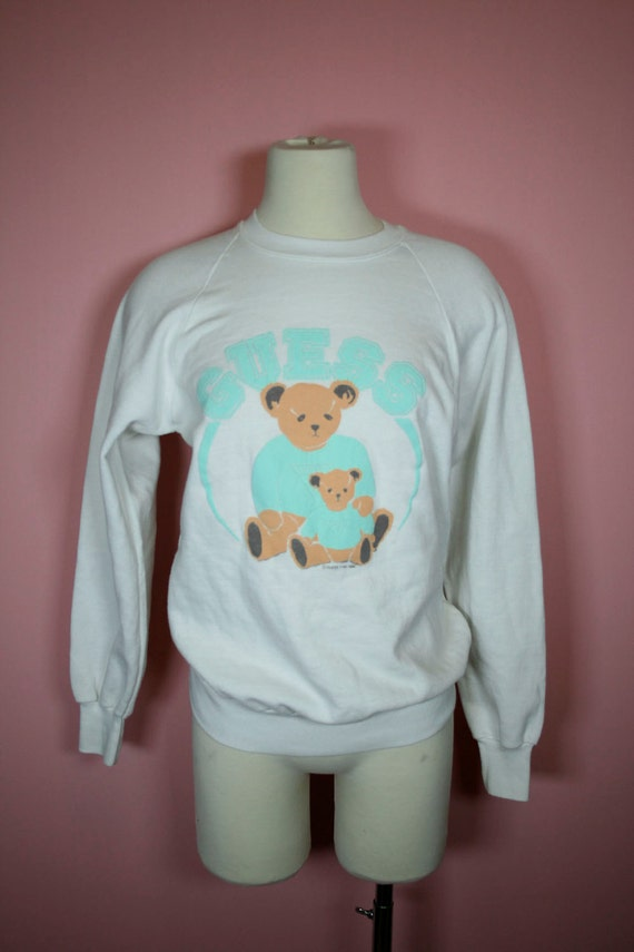 Sale & free US shipping  1986 GUESS Pastel mint and white fitted teddy bear sweatshirt