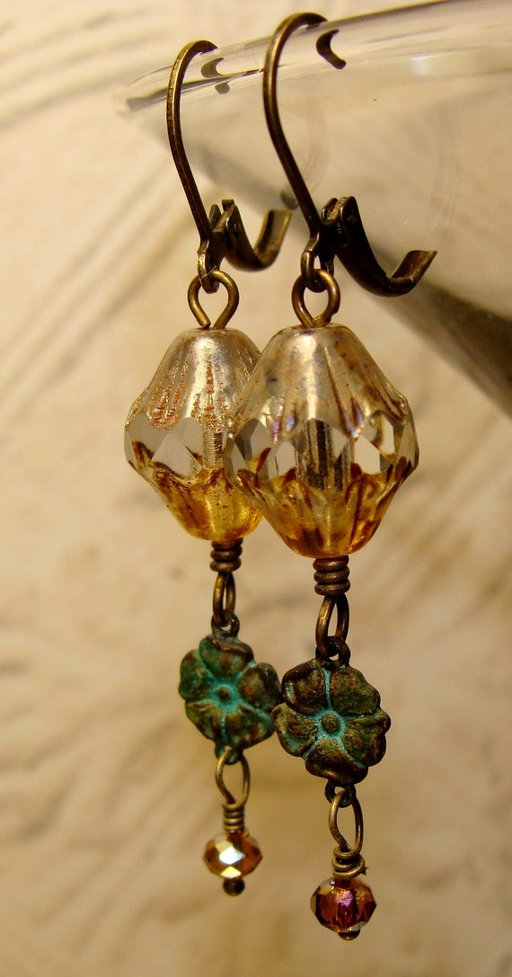 Victorian pale topaz picasso patina earrings