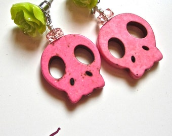 Day of the Dead Earrings- Skulls and flowers- The Marnie Earring