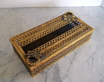 Vintage Gilded Metal Tissue Holder
