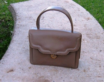 vintage small TAN LEATHER PURSE
