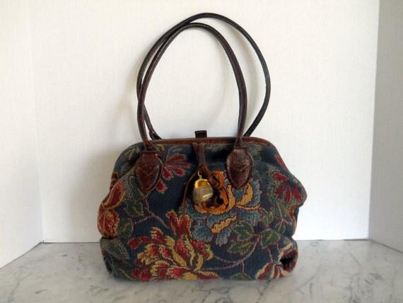 Vintage Tapestry Handbag // Rich Florals (reserved for liana)