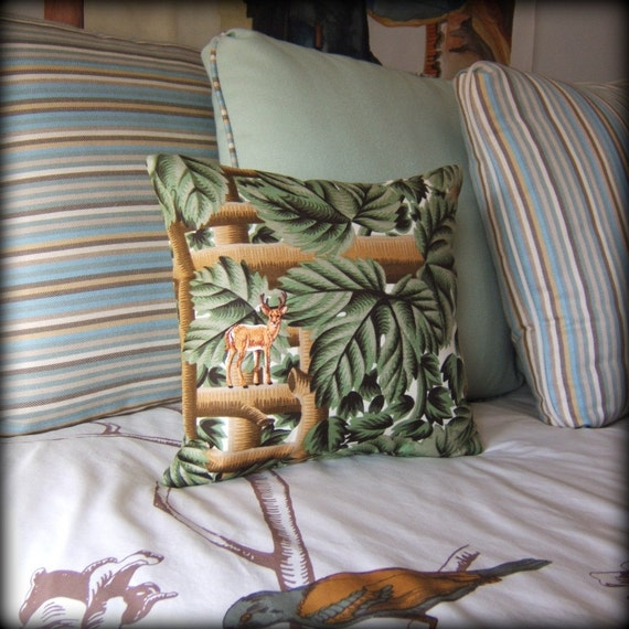Vintage linen blend Twig and Leaf fabric with Embroidered Deer Applique pillow SALE