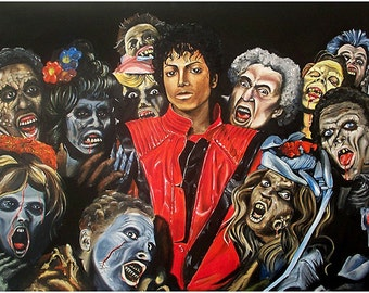JEREMY WORST Thriller Tribute to Michael Jackson Rip painting artwork fine art print original mj im bad zombie