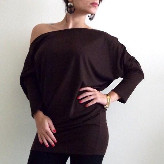 ON SALE- Brown top- Dolman Oversize Brown  Top with bat sleeves