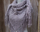 Crochet Shawl Triangle Scarf Grey Gray