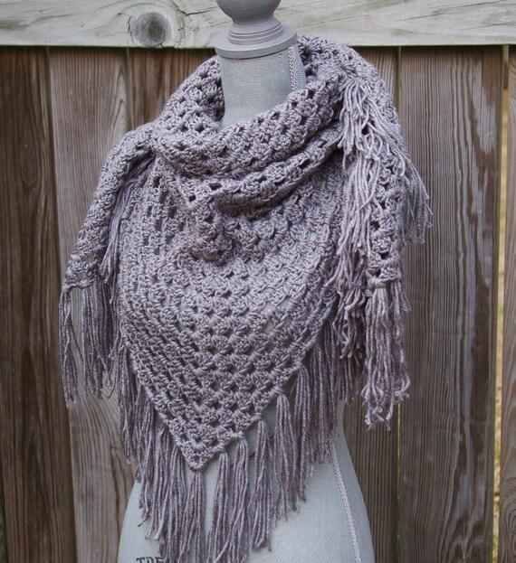 Crochet Shawl Triangle Scarf Grey Gray