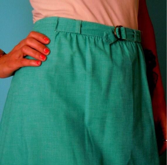 vintage 70's seafoam green knee length skirt