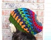 Beanie Bohemian Slouchy all season / Travel HAT Multicolor Unisex / Handmade Multicolor Chemo Cozy Hat Handmade by Malasa / Beanie Beret Hat
