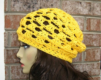 Flash Sale Hat Slouchy handmade crocheted Knitted in Bright Yellow All Season HAT Fashion Women available in 23 colors