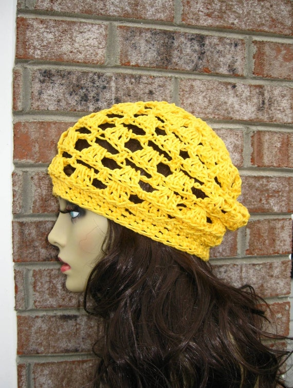 Hat Slouchy Handmade crocheted Knitted in Yellow All Season Fashion Women in 23 colors ONE DAY SALE