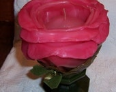 RESERVED for Monika, Vintage 1970s Lenox Red Rose Wax Candle, Large , Unused