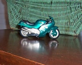 Vintage Hot Wheels Toy Motorcycle - Metallic Green and Silver - Treasury Item