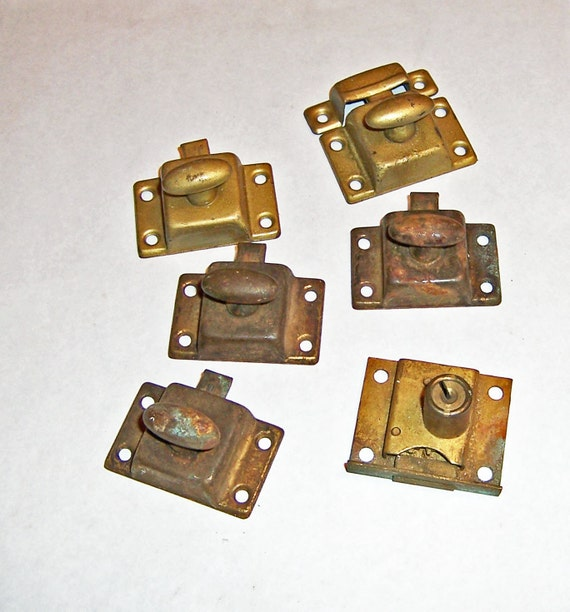 Vintage Rusty Grungy Cabinet Cupboard Latches and Lock - Hoosier Type - All Working