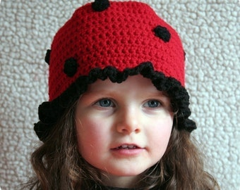 Baby Girl Hat Easy CROCHET PATTERN Animal LADYBUG Beanie Cloche Hat and Purse