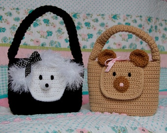 Easy Purse PDF CROCHET PATTERN Baby Animal Bear and Poodle Purse