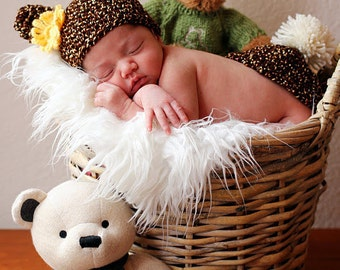 Baby CROCHET PATTERN PDF Hat and Bum Cover Set Twin Teddy