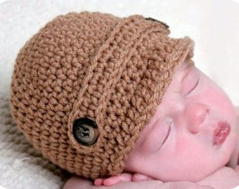 Baby Hat Easy CROCHET PATTERN PDF Boy Girl Newsboy Beanie Cap Classic Newsboy in 5 sizes