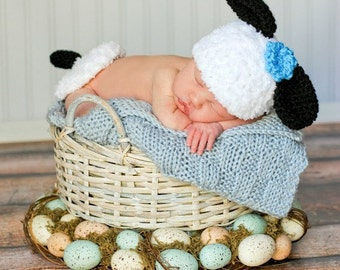 Easter Baby Hat CROCHET PATTERN Animal Lamb Hat with Bum Cover Preemie and Newborn