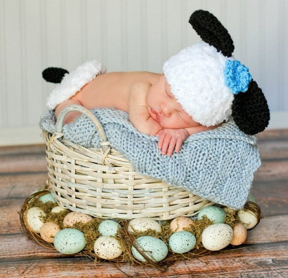 Crochet Pattern For Baby Lamb Hat : Baby Hat CROCHET PATTERN Animal Lamb Hat with Bum Cover