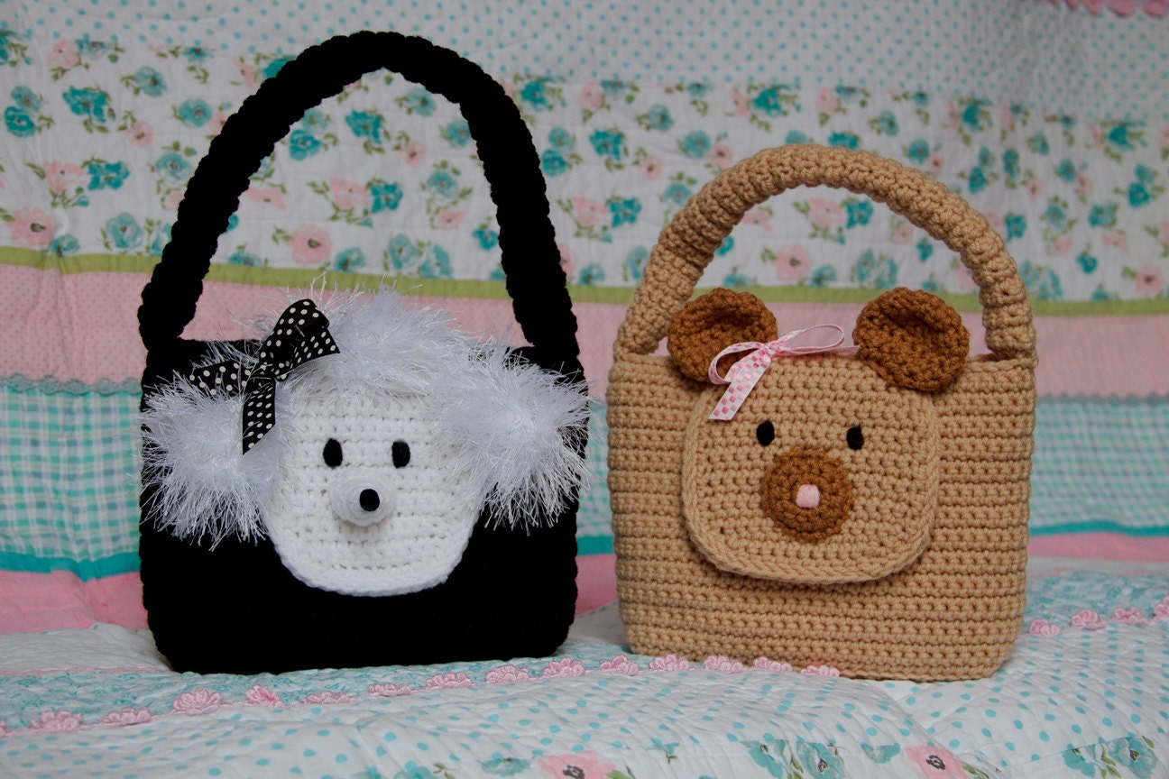 Toddler Crochet Purse Pattern : Girl Purse PDF CROCHET PATTERN Easy Animal Bear and Poodle