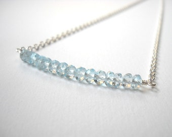 Swiss Blue Topaz Bar Necklace - Sterling Silver Beaded Aquamarine Row Necklace Beadwork Necklace