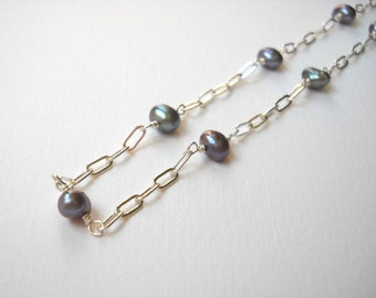 Peacock Pearl Necklace - Sterling Silver Station Necklace Gray Pearls Beadwork Necklace